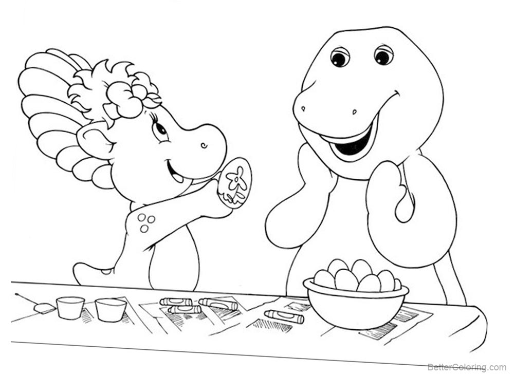 Barney Coloring Pages Color the Eggs printable for free