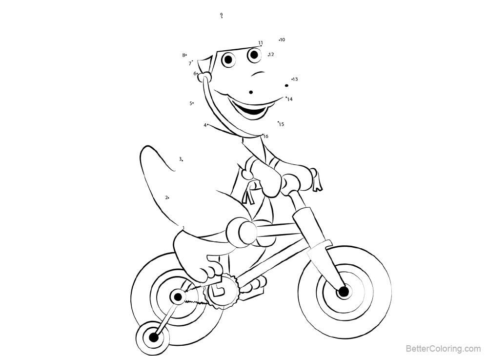 Barney Coloring Pages Connect the Dots - Free Printable ...