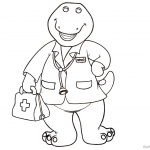 Barney Coloring Pages Doctor Style
