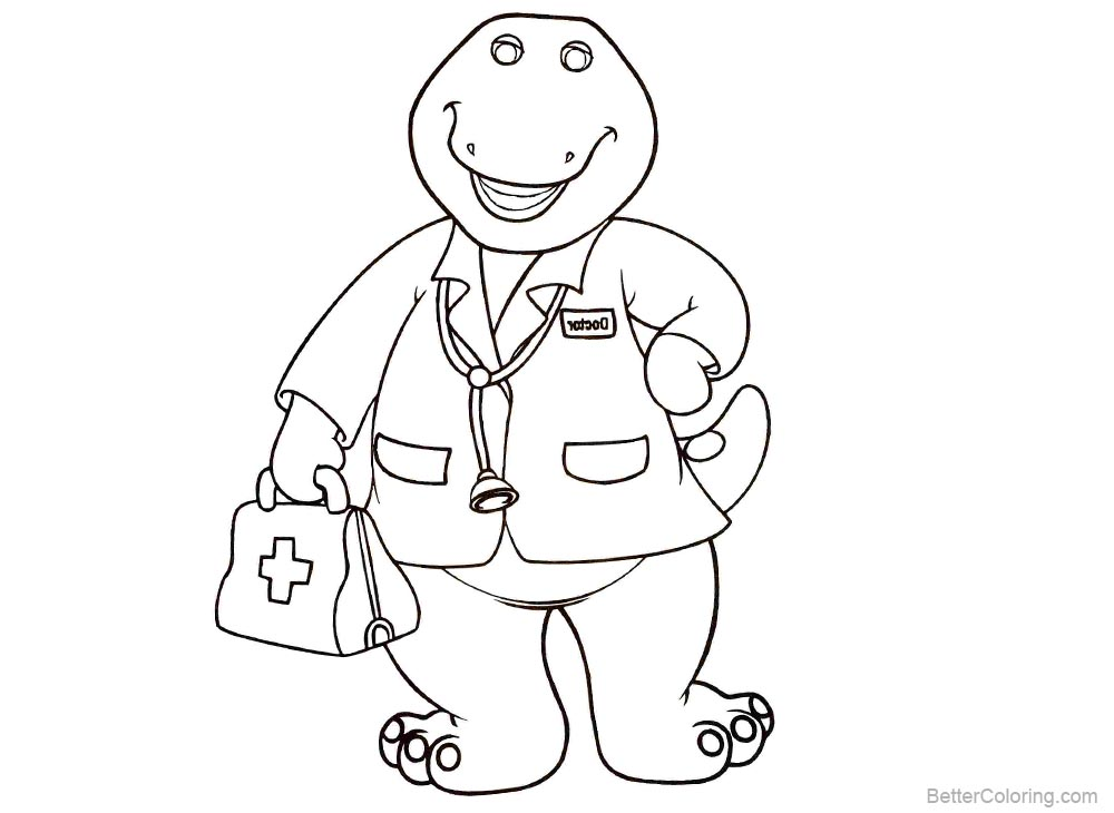 Barney Coloring Pages Doctor Style printable for free