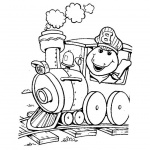 Barney Coloring Pages Drive A Train