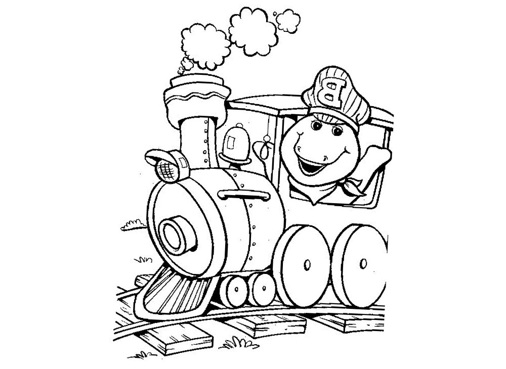 Barney Coloring Pages Drive A Train printable for free