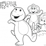Barney Coloring Pages Family Selfie