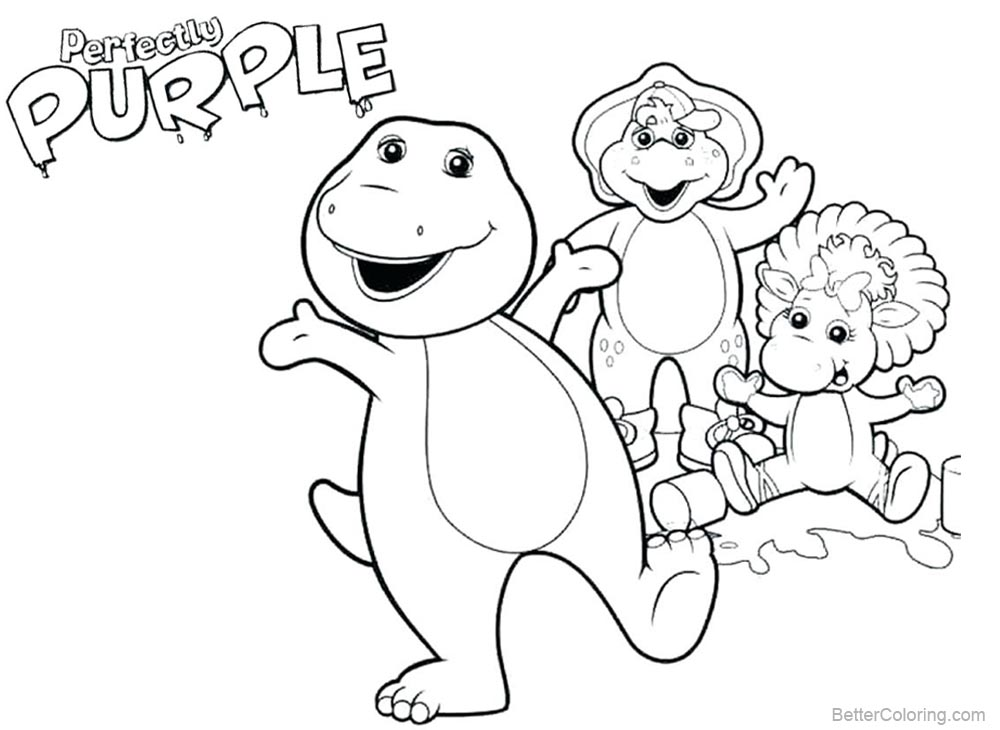 Barney Coloring Pages Family Selfie printable for free