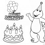 Barney Coloring Pages Happy Birthday Clipart