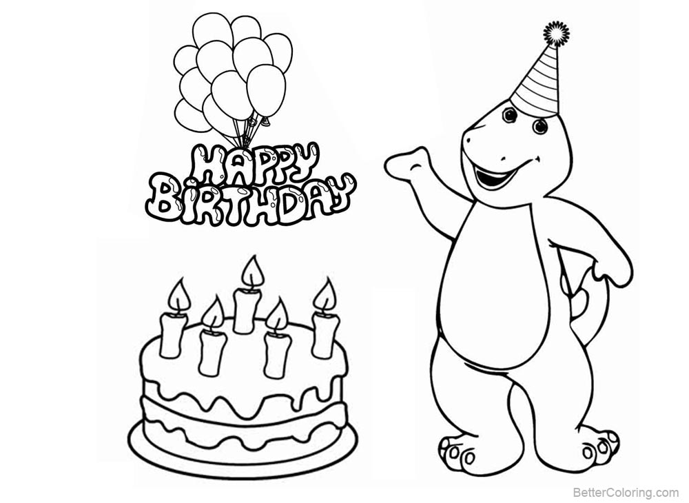 Barney Coloring Pages Happy Birthday Clipart - Free Printable ...