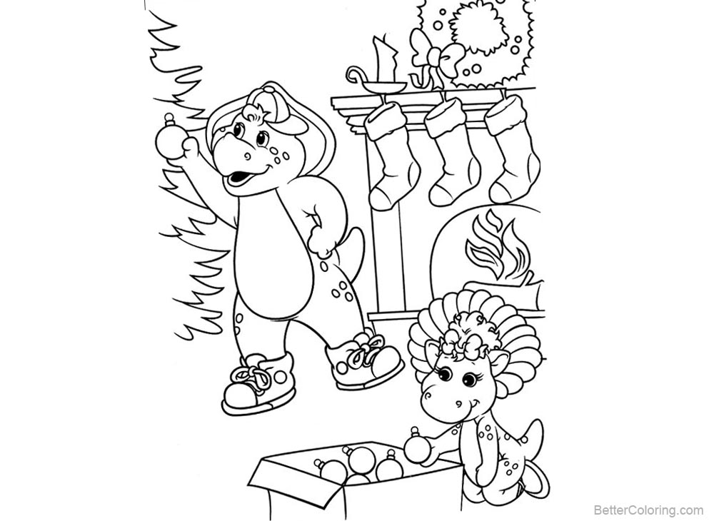 Barney Coloring Pages Happy Christmas printable for free