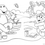 Barney Coloring Pages Happy Picnic