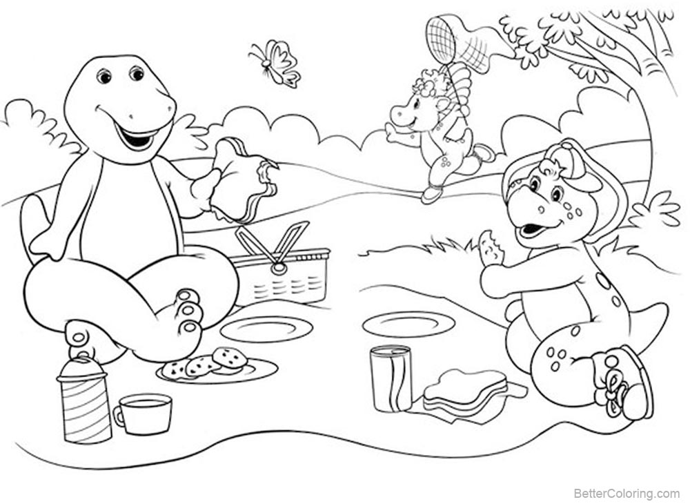Barney Coloring Pages Happy Picnic printable for free