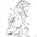 Barney Coloring Pages It's Raining