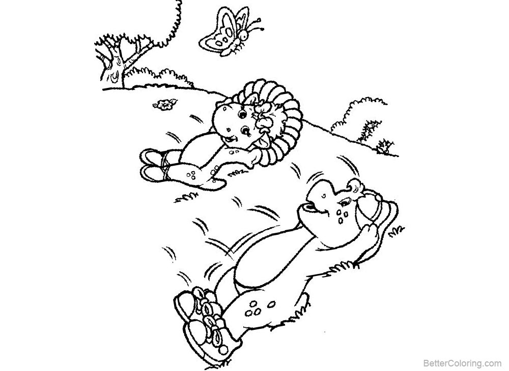 Barney Coloring Pages Lying on the Grass Free Printable
