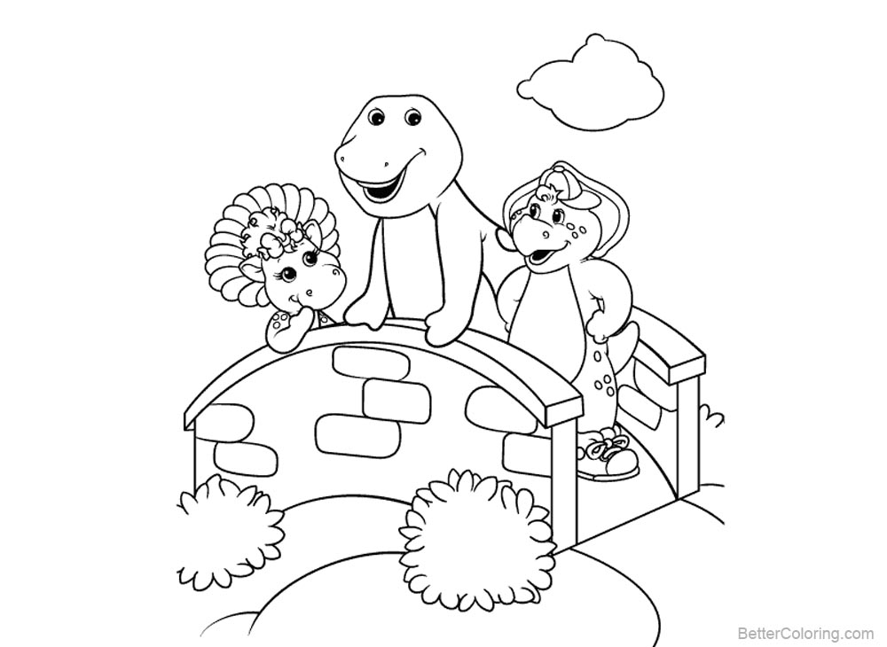 Barney Coloring Pages On A Small Bridge - Free Printable Coloring Pages