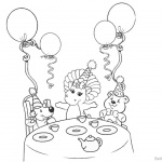 Barney Coloring Pages Party with Balloons