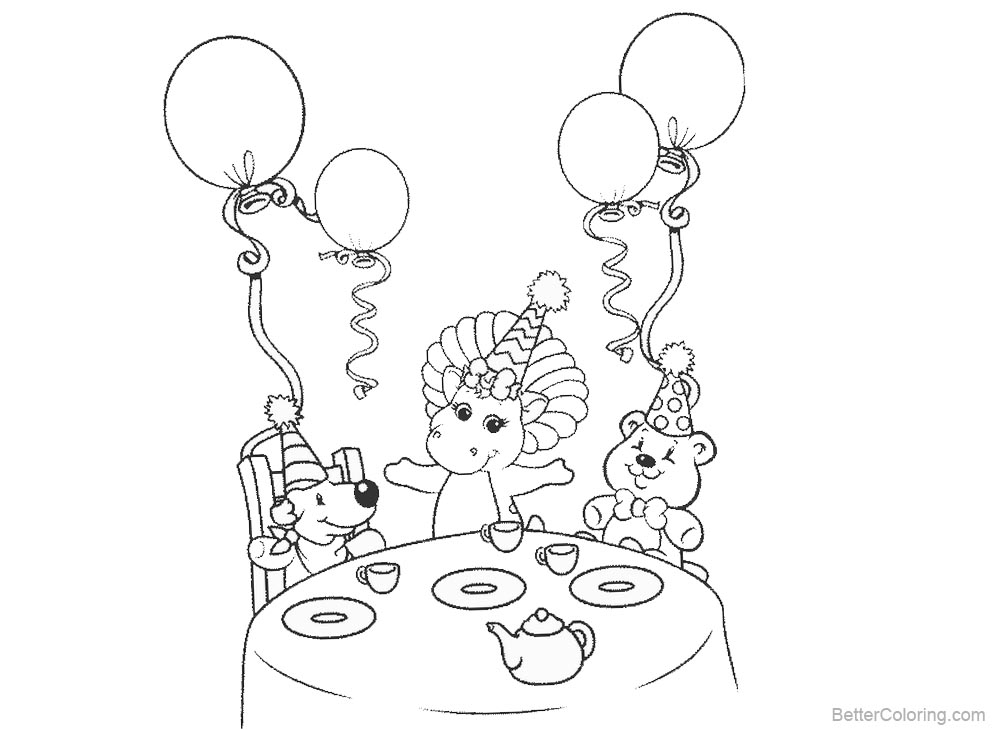 Barney Coloring Pages Party with Balloons printable for free