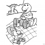 Barney Coloring Pages Picnic