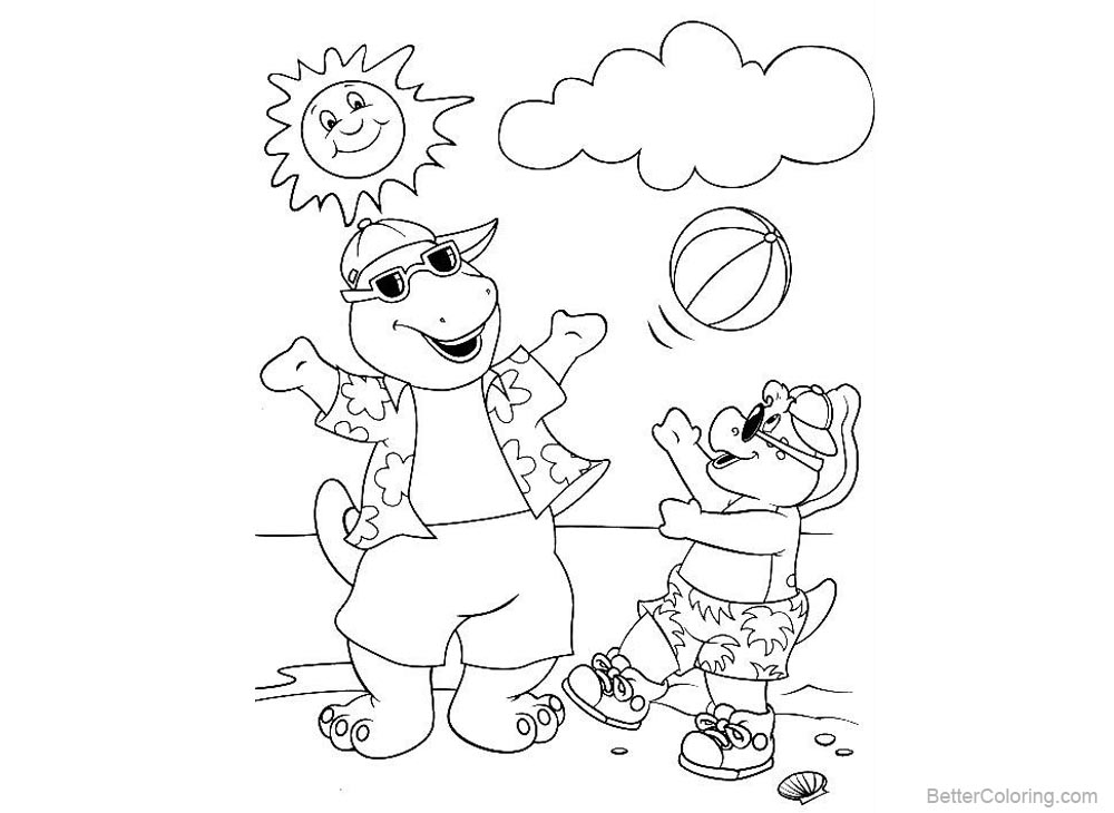 Barney Coloring Pages Play Ball