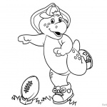 Barney Coloring Pages Play Baseball
