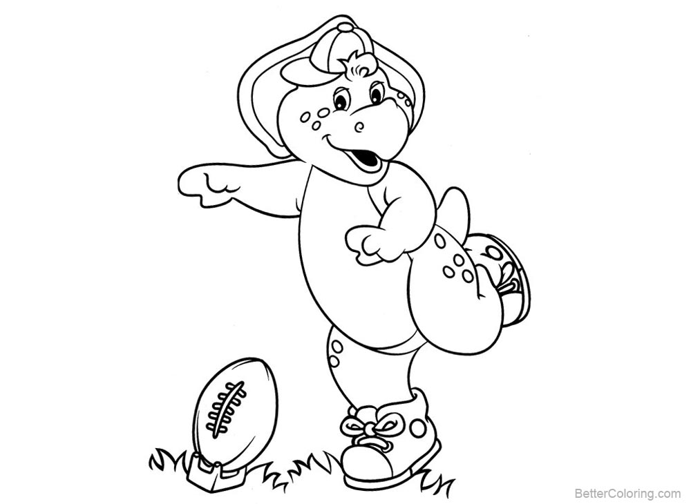 Barney Coloring Pages Play Baseball printable for free