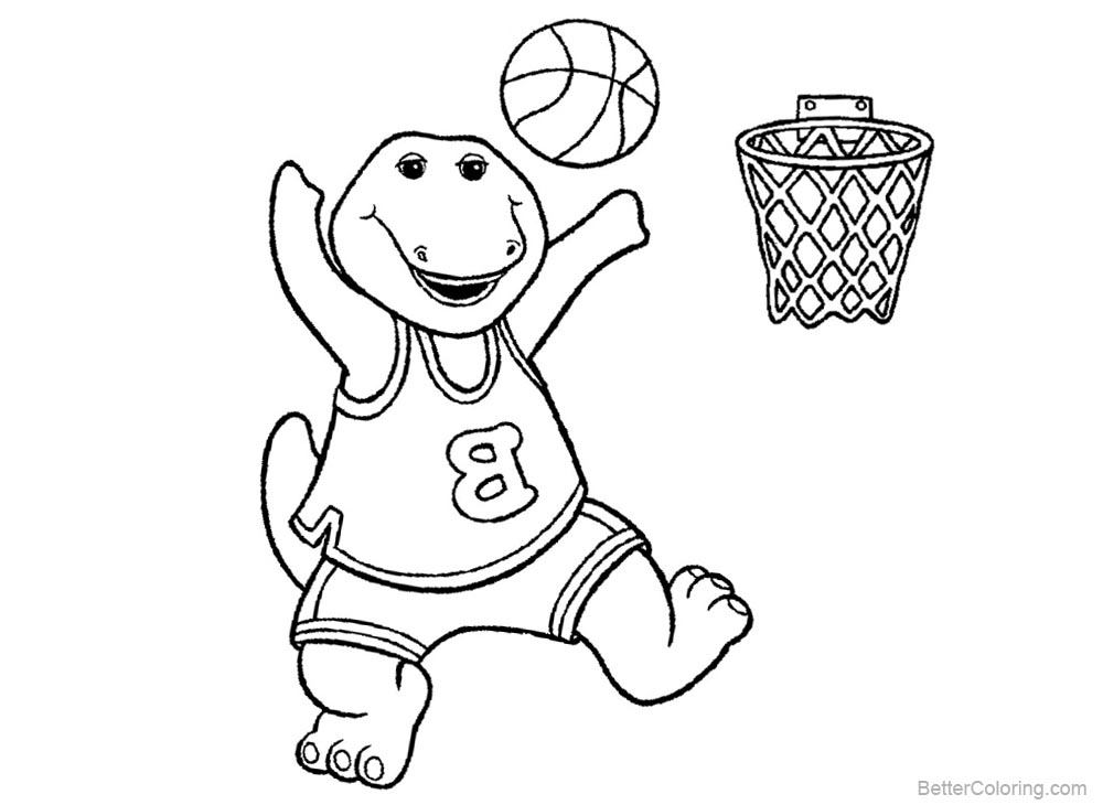 Barney Coloring Pages Play Basketball printable for free