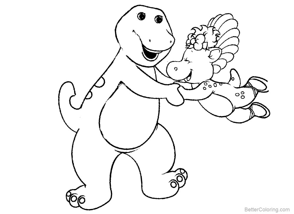 Barney Coloring Pages Play Time printable for free