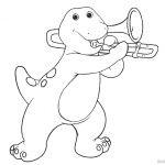 Barney Coloring Pages Play Trombone