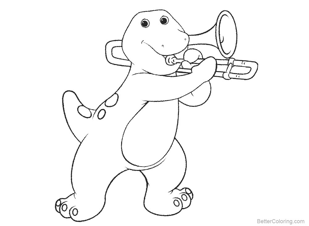 Barney Coloring Pages Play Trombone printable for free