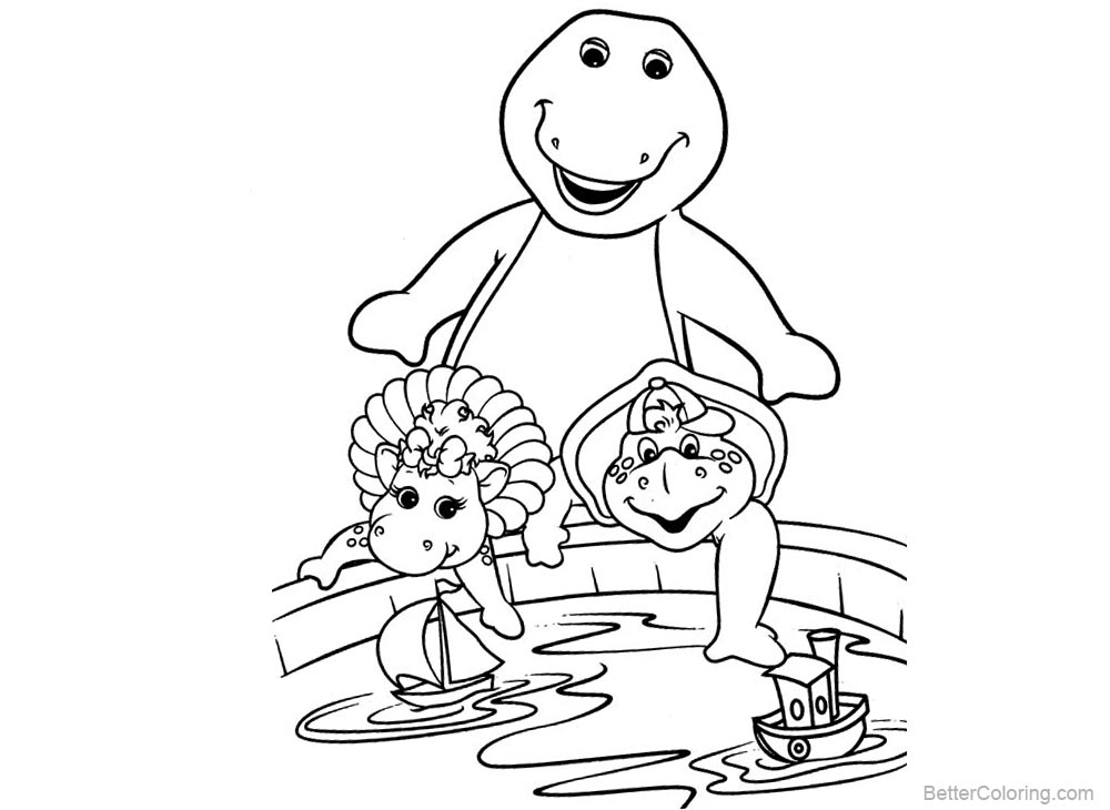 Barney Coloring Pages Play the Toy Ships printable for free