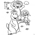 Barney Coloring Pages Play with Butterfly