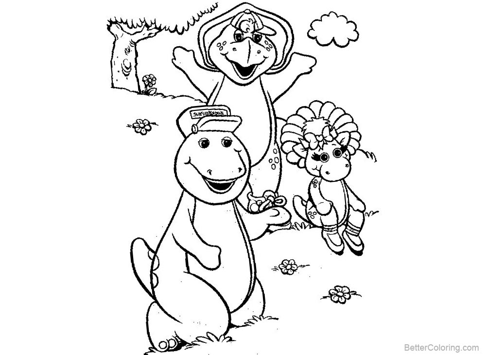 Barney Coloring Pages Play with Butterfly printable for free