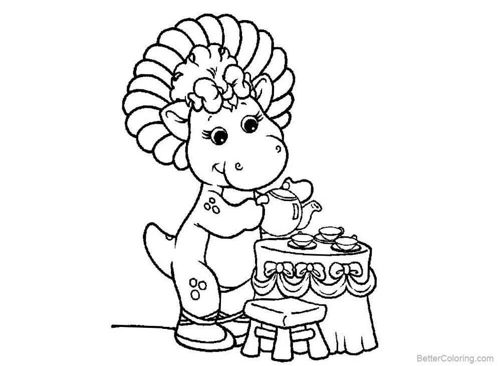 Barney Coloring Pages Prepare Tea printable for free