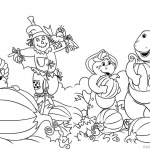Barney Coloring Pages Pumpkin Harvest