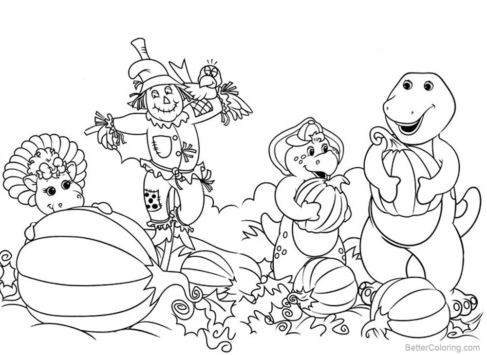 Barney Coloring Pages Pumpkin Harvest printable for free