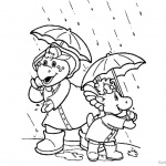 Barney Coloring Pages Rain