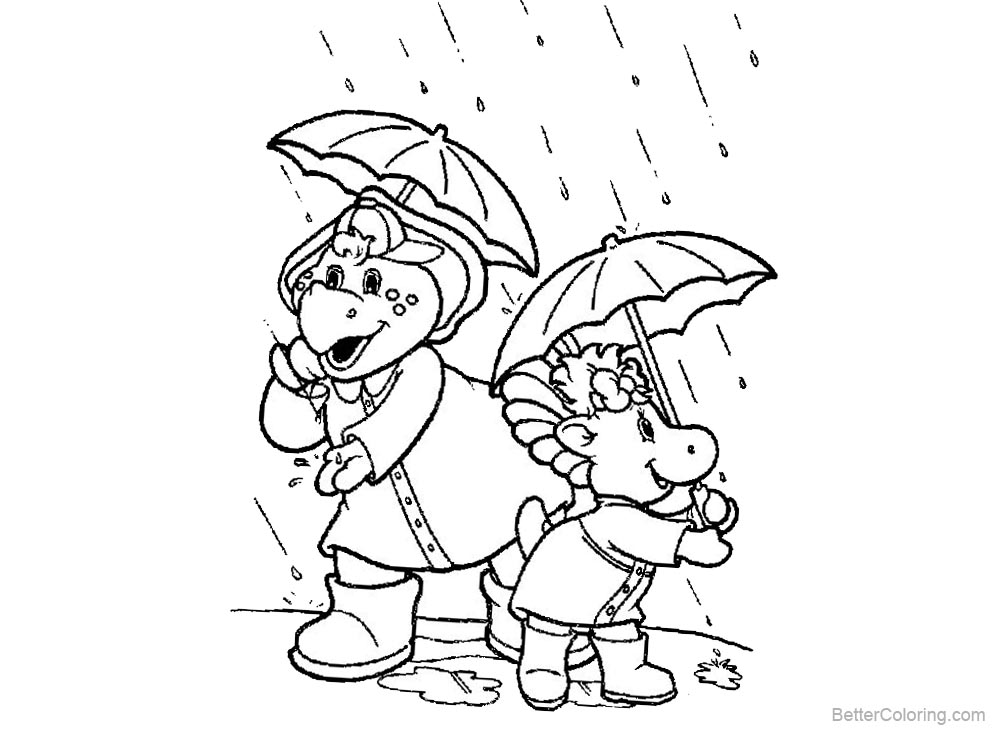 Barney Coloring Pages Rain printable for free