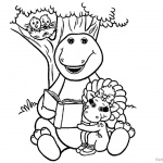 Barney Coloring Pages Reading Under the Tree