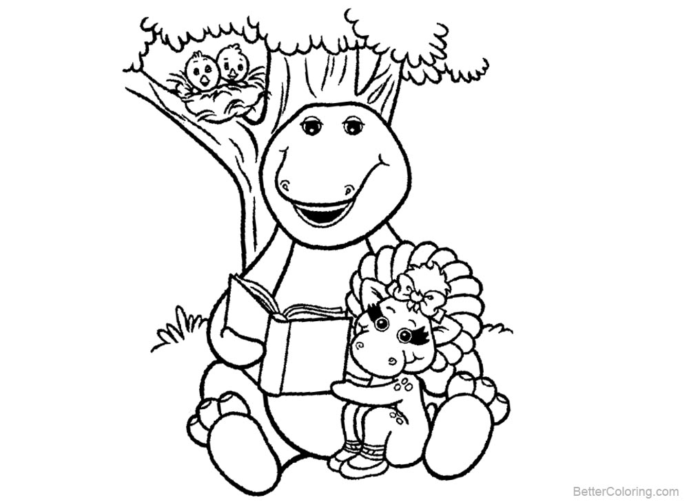 Barney Coloring Pages Reading Under the Tree - Free Printable ...