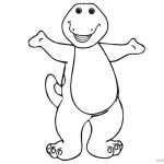 Barney Coloring Pages Simple Line Drawing