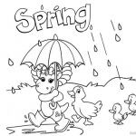 Barney Coloring Pages Spring Raining