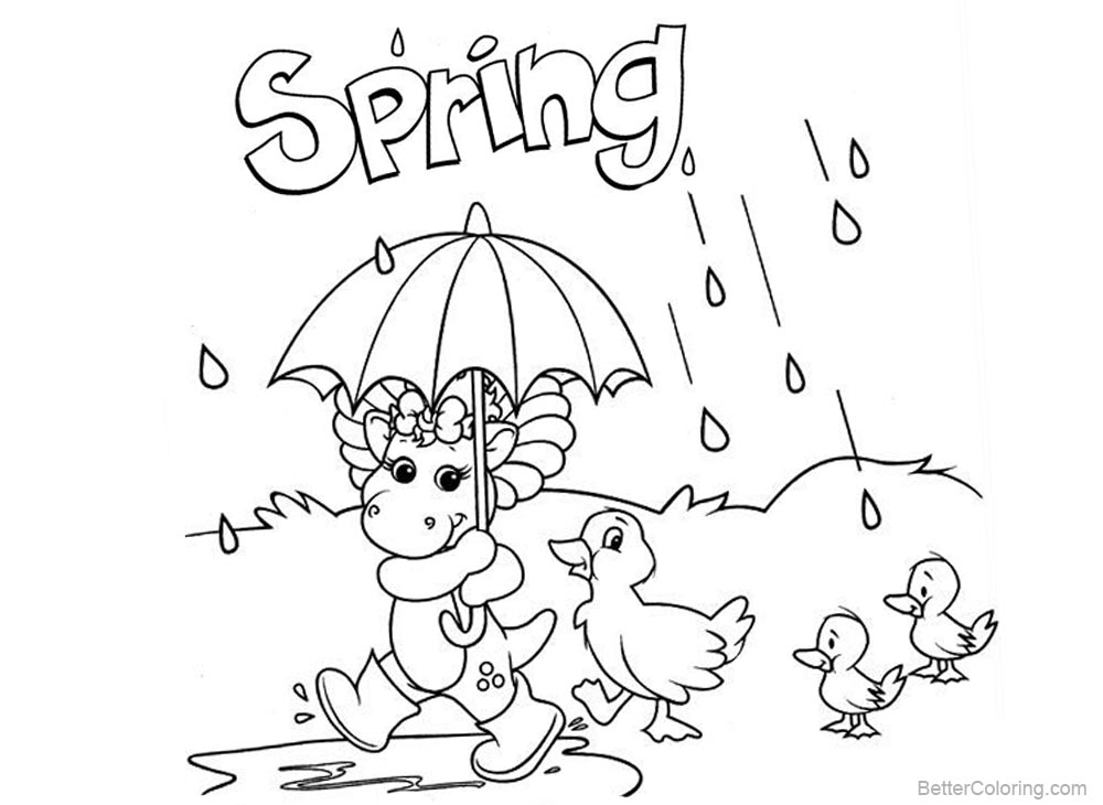 Barney Coloring Pages Spring Raining printable for free