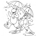Barney Coloring Pages Walk in The Rain