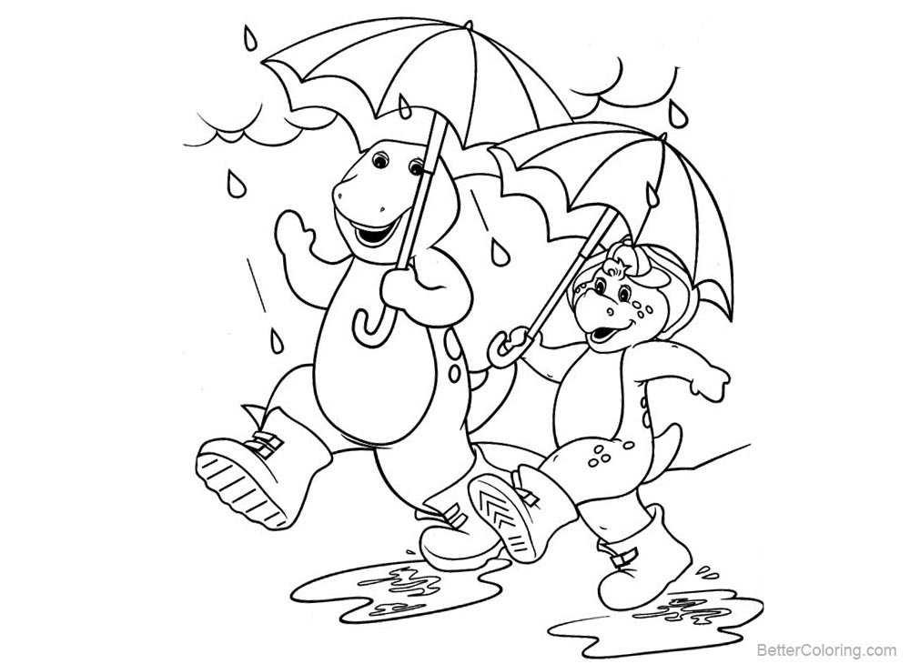 Barney Coloring Pages Walk in The Rain printable for free