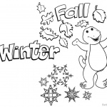 Barney Coloring Pages Winter and Fall