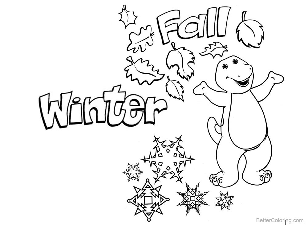 Barney Coloring Pages Winter and Fall printable for free