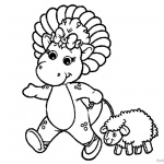 Barney Coloring Pages with A Little Sheep
