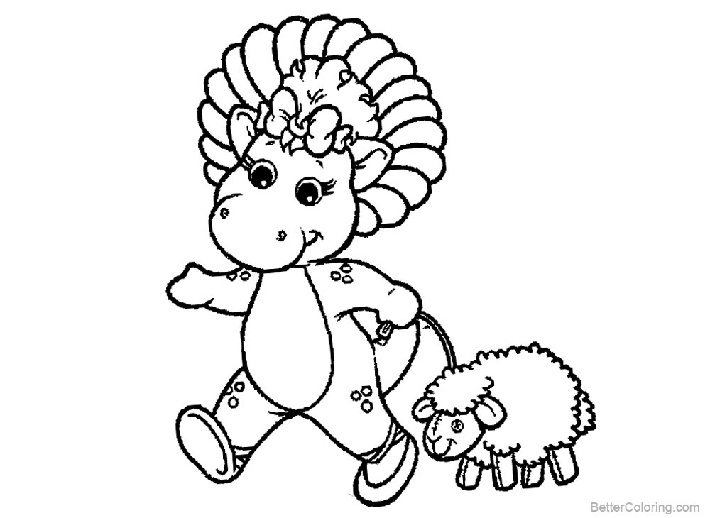 Barney Coloring Pages with A Little Sheep - Free Printable Coloring ...
