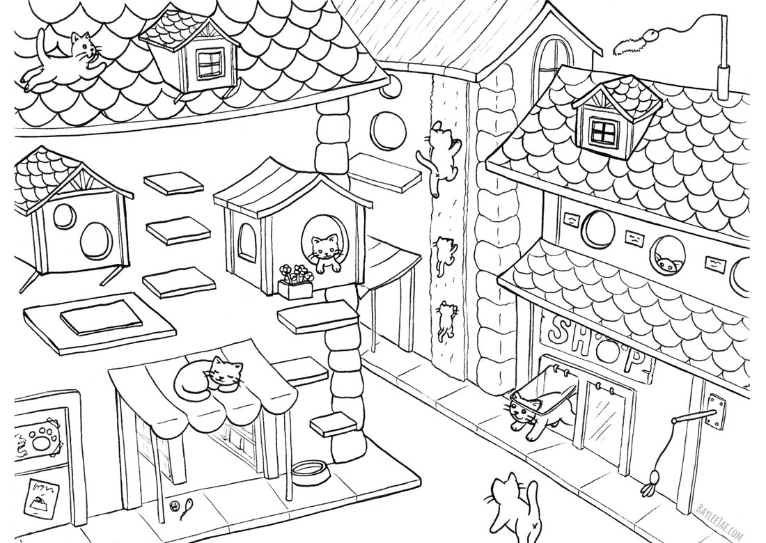 Baylee Jae Coloring Pages Cute Cats printable for free