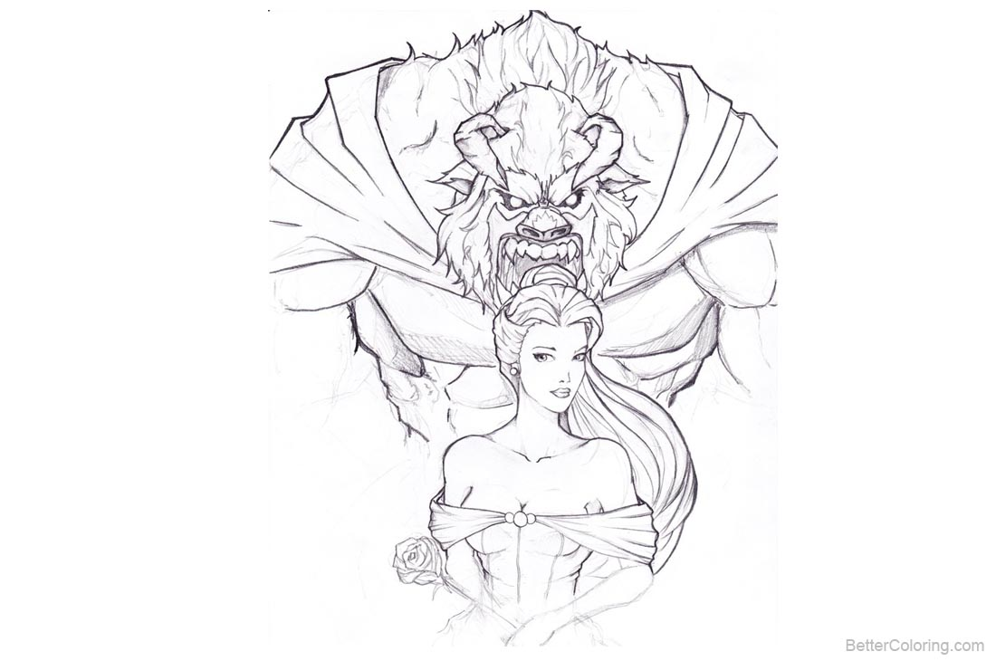 Beauty and The Beast Coloring Pages Hand Drawing printable for free