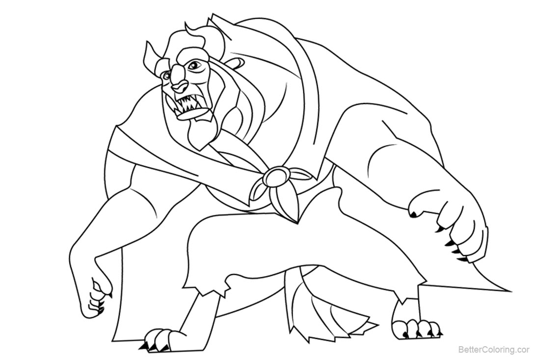 graphic regarding Beauty and the Beast Printable Coloring Pages referred to as Magnificence and The Beast Coloring Webpages Line Artwork - Cost-free