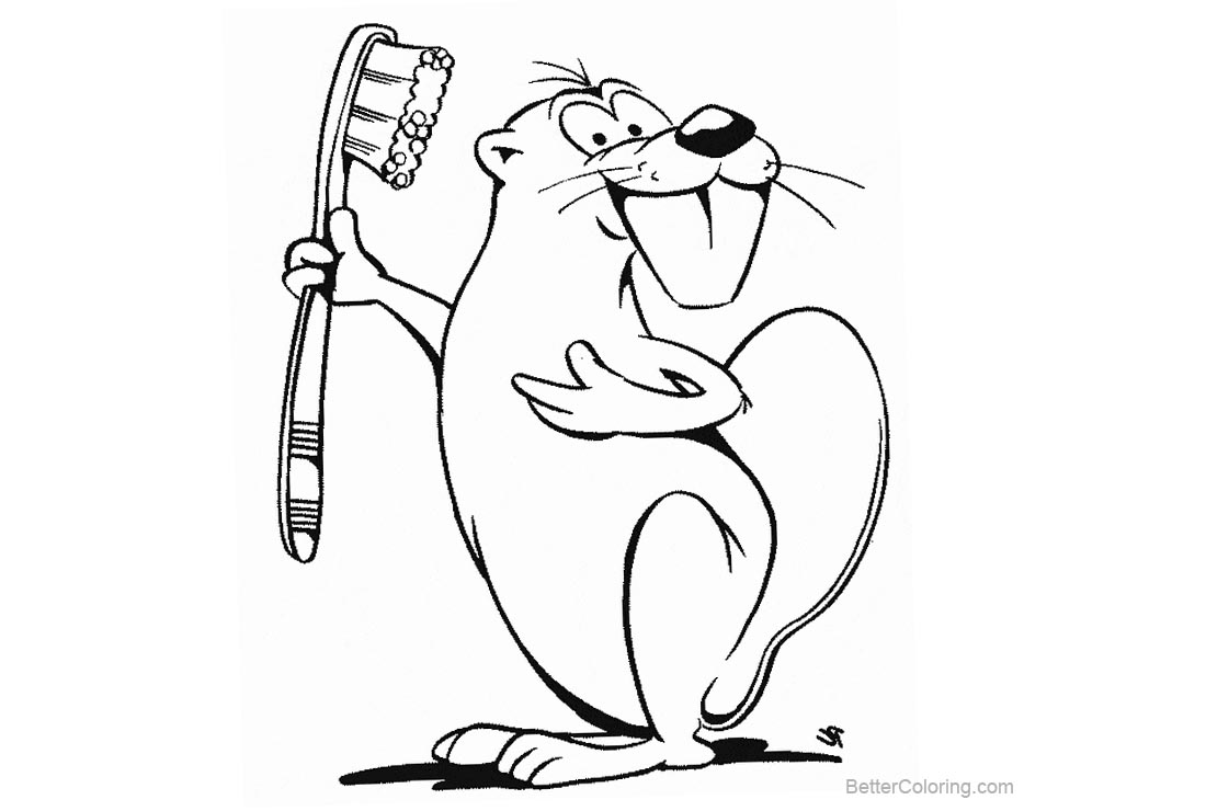 Free Beaver Coloring Pages with Tooth Brush printable