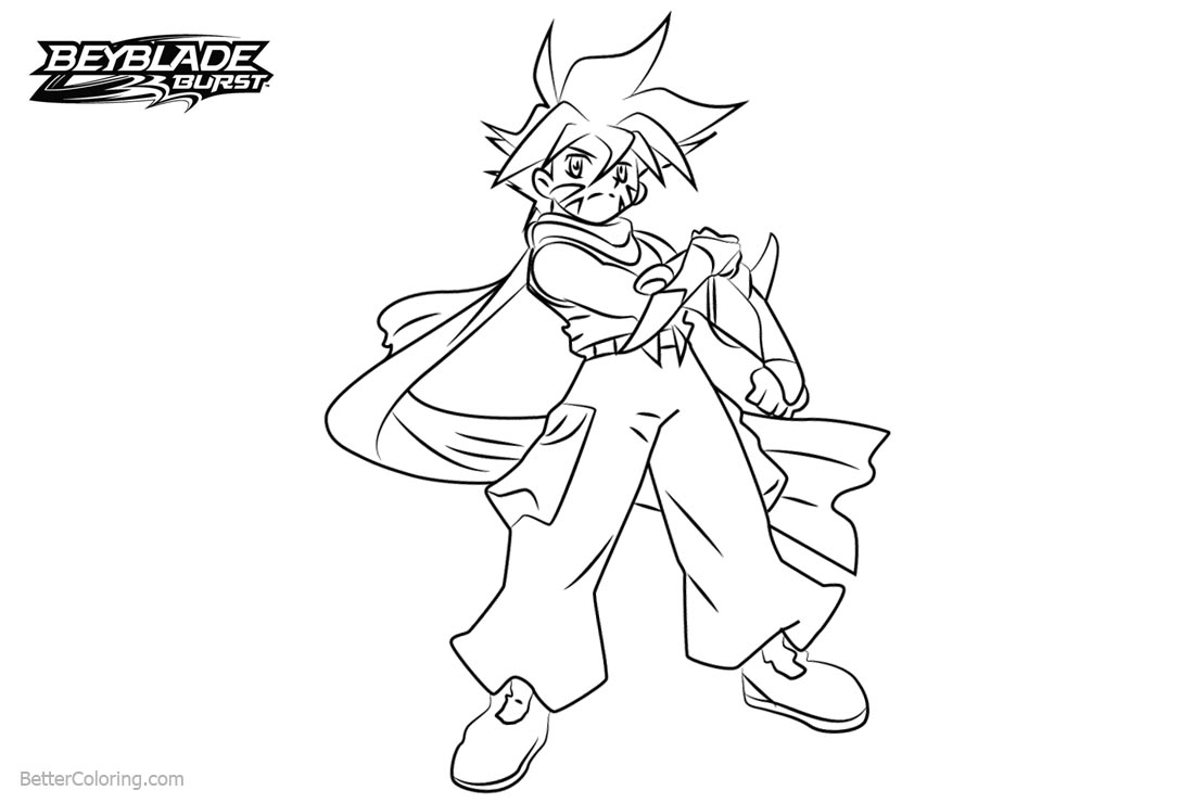Free Beyblade Burst Characters Coloring Pages Kai printable
